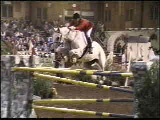 Gem Twist ridden by Leslie Howard, 1993 Autumn Classic, Port Jervis, NY--an early Equipoise sponsorship.